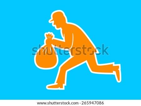 Orange thief icon on blue background  - stock vector