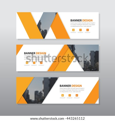 Orange triangle abstract corporate business banner template, horizontal advertising business banner layout template flat design set , clean abstract cover header background for website design,  - stock vector