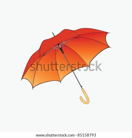 Orange umbrella on white background. - stock vector