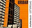 Orange Urban City Street, Vector Background Illustration - stock vector