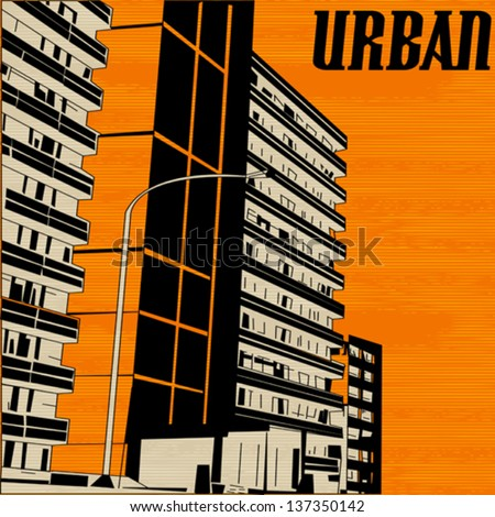 Orange Urban City Street, Vector Background Illustration