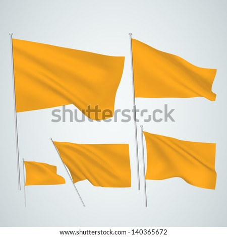 Orange vector flags. A set of 5 wavy 3D flags created using gradient meshes. EPS 8 vector - stock vector