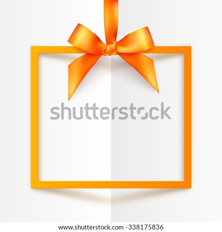 Orange vector gift box frame with silky bow and ribbon on white folded paper background - stock vector