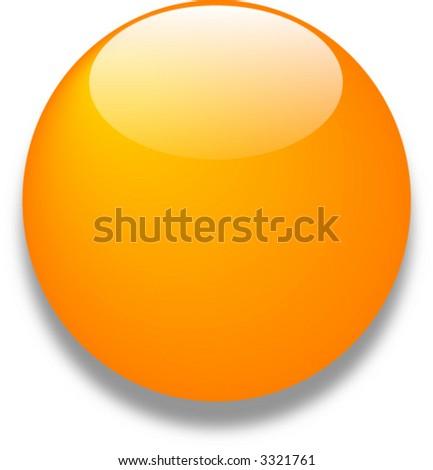 Orange vector glass web button - stock vector