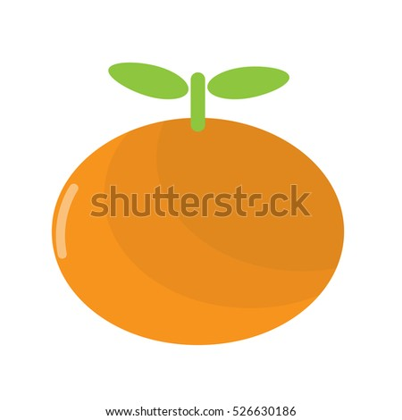 orange vector icon cartoon style isolated on white background. vector illustration.  fruit, food vector flat style