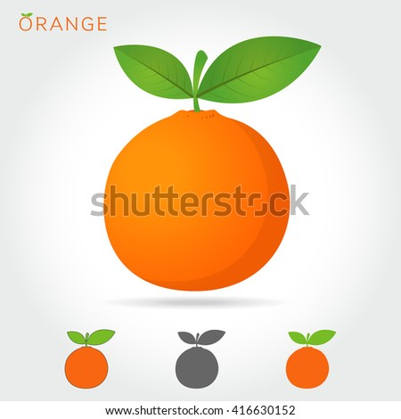 orange vector icon cartoon style isolated on white background.  vector illustration. orange isolated black and color icons vector silhouette. fruit, food, vector flat style