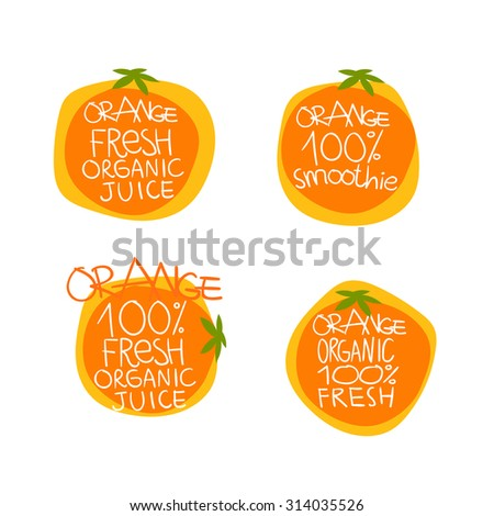Orange vector set of icons for use - stock vector