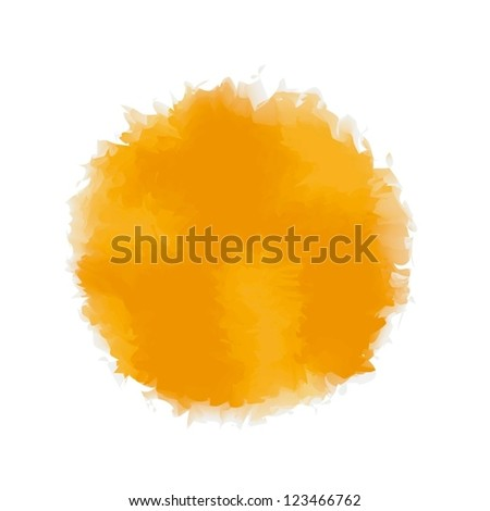 Orange water color round drop for background or design elementwater color round drop - stock vector