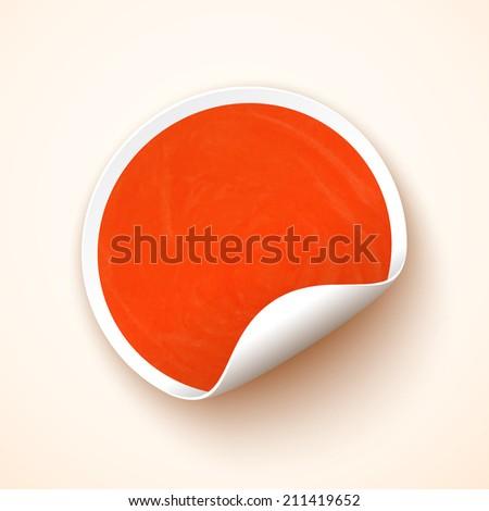 Orange watercolor blank sticker. Promotional label. Vector illustration - stock vector