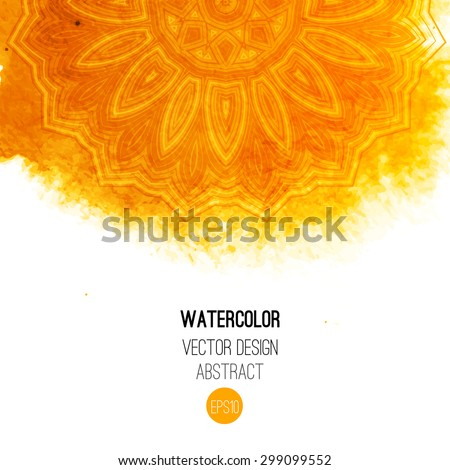 Orange watercolor brush wash with pattern - round tribal elements. Vector ethnic design in boho style. - stock vector