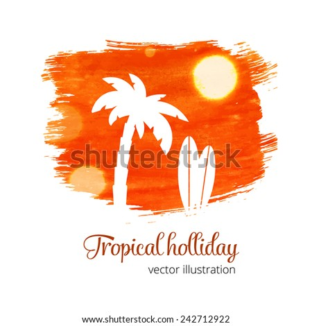 Orange watercolor grunge splash with palm silhouette