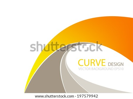 Orange wave line background curve with brown color for text and message modern website design - stock vector