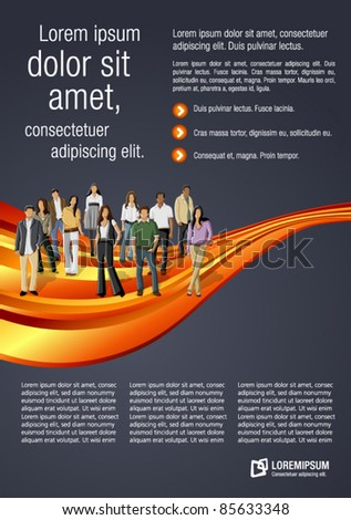 Orange wave template for advertising brochure with business people - stock vector