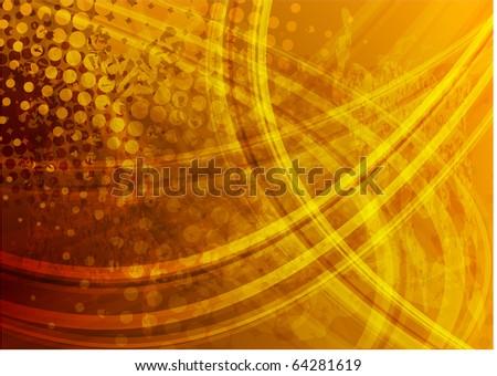 Orange wavy backdrop - stock vector