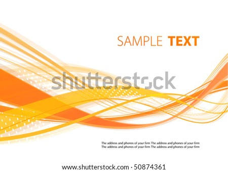 Orange wavy template. Vector - stock vector