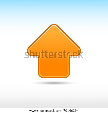 Orange web 2.0 button arrow icon up sign with shadow on white background - stock vector