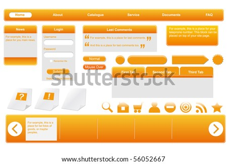 Orange web forms. Editable vector illustration. - stock vector
