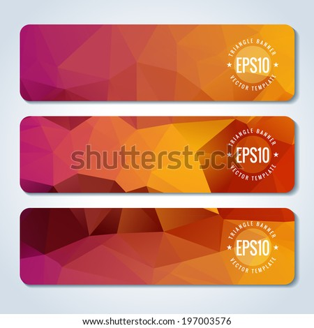Orange website header or banner set template of triangle pattern - stock vector