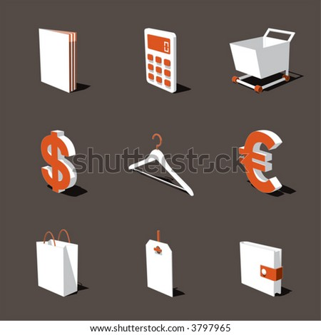 orange-white 3D icon set 06 - stock vector