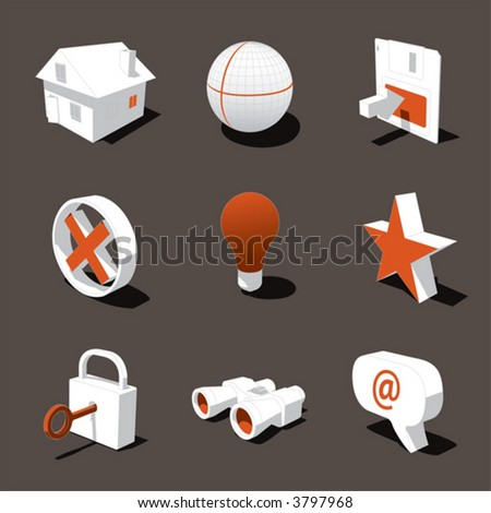 orange-white 3D icon set 01 - stock vector