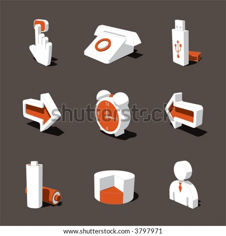 orange-white 3D icon set 03 - stock vector