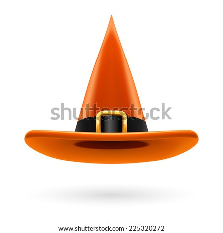 Orange witch hat with golden buckle and hatband - stock vector