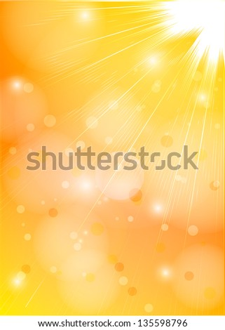 Orange-yellow sunlight. Vector background - stock vector