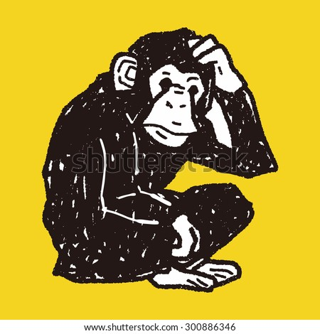 orangutan monkey doodle - stock vector