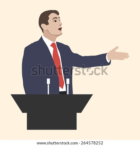 Orator speaks at the podium with microphones. Speaker gestures strong and confident. Speech with strong gestures. A man dressed in a suit and tie. Lecturer, teacher, manager. Image. Vector. Icon. - stock vector