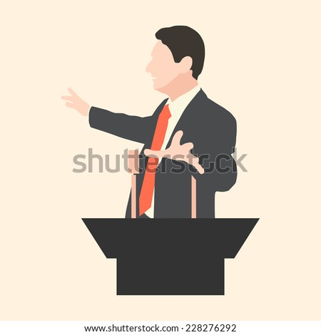 Orator speaks with broad gestures behind a podium. Speaker makes a report to the public and the press. Eloquent speech before an audience. Rhetoric. Oratory, politician, businessman. Vector. Icon. - stock vector