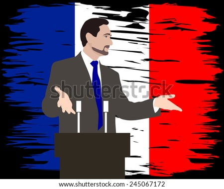 Orator stands behind a podium with microphones. Speaker makes a report to the public. Flag made paint brush. The flag on the wall. The flag of France. Republican marches. Image. Vector. Icon.