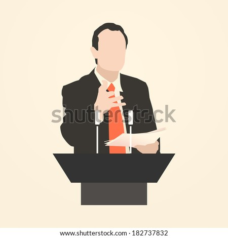 Orator stands behind a podium with microphones.  Speaker makes a report to the public. Presentation and performance before an audience. Rhetoric. Oratory, lecturer, business seminar. Vector. Icon. - stock vector