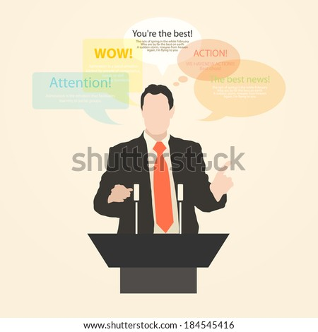Orator stands behind a podium with microphones.  Speaker makes a report to the public. Presentation and performance before an audience. news. Policy Vector. Icon. - stock vector