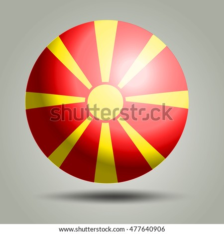 Orb Macedonia Flag icon on grey background.