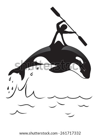 Orca and man. Symbol for water clubs or for placing on T-shirts. - stock vector