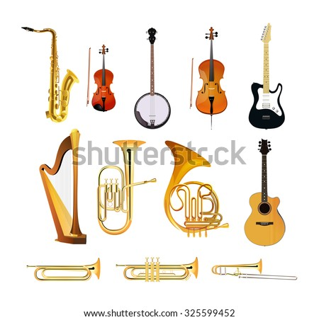 Orchestra Musical Instruments isolated on white background, Vector Illustrations of blues, rock and jazz instruments - stock vector