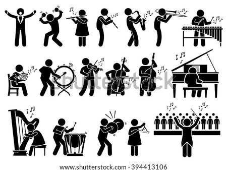 Orchestra Symphony Musicians with Musical Instruments Stick Figure Pictogram Icons - stock vector