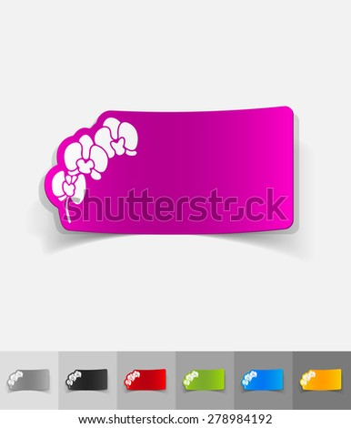 orchid paper sticker with shadow. Vector illustration - stock vector