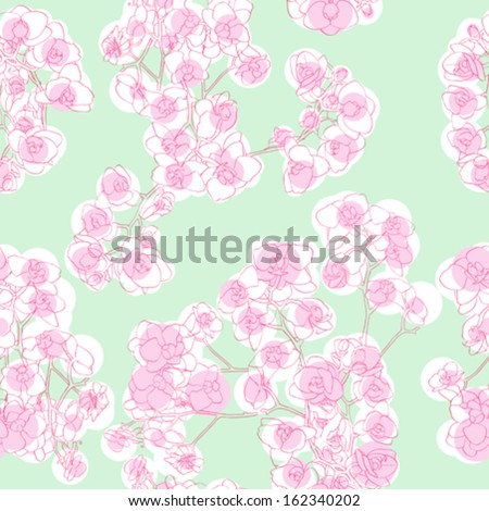 Orchids seamless pattern, hand drawn illustration of a retro revival Neo Rococo style floral texture - stock vector