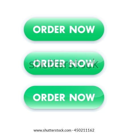 order now button for web design, green on white, vector illustration - stock vector