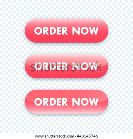 order now button for web design, red version, vector illustration - stock vector