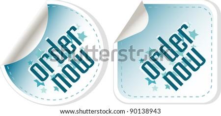 Order now stickers label set. vector - stock vector