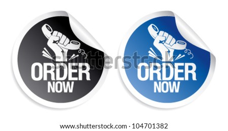 Order now stickers set. - stock vector