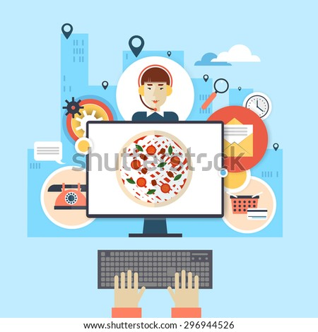 Order pizza on-line, on-line ordering, home delivery. Flat style vector illustration. - stock vector