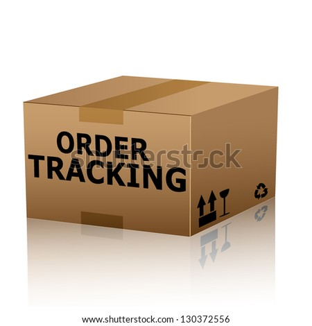 order tracking text over cardboard box isolated. vector illustration - stock vector