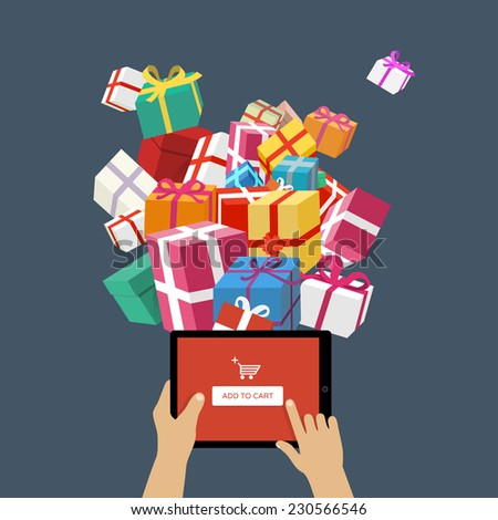 Ordering christmas gifts online - stock vector