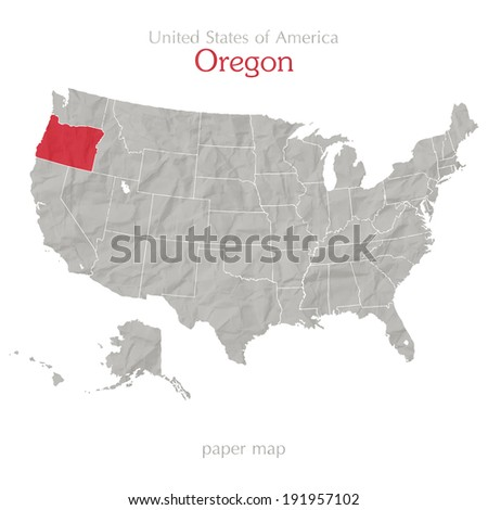 Oregon and United States outline map isolated on white background - stock vector