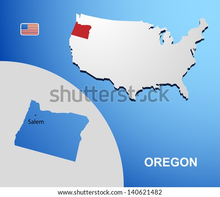 Oregon on USA map with map of the state