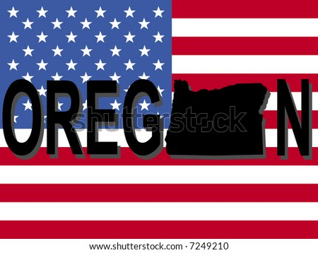 Oregon text with map on American flag illustration
