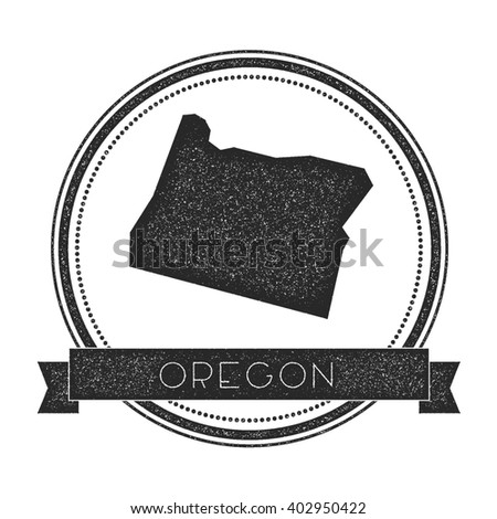 Oregon Vector Map Stamp Retro Distressed Insignia With Us State Map Hipster Round Rubber